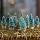 Factory Direct Craft Miniature Frosted Green Bottle Brush Trees, 1 1/2'' High, Package of 12, Craft Supplies