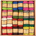 24-Roll Set of Jute Twine - Natural Twine Rope, Jute String, Twine String for DIY Crafts, Decoration, Embellishments, Random Assorted Colors - 11