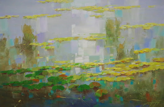 Waterlilies Pond, Original oil Painting, Handmade artwork, One of a Kind, Signed