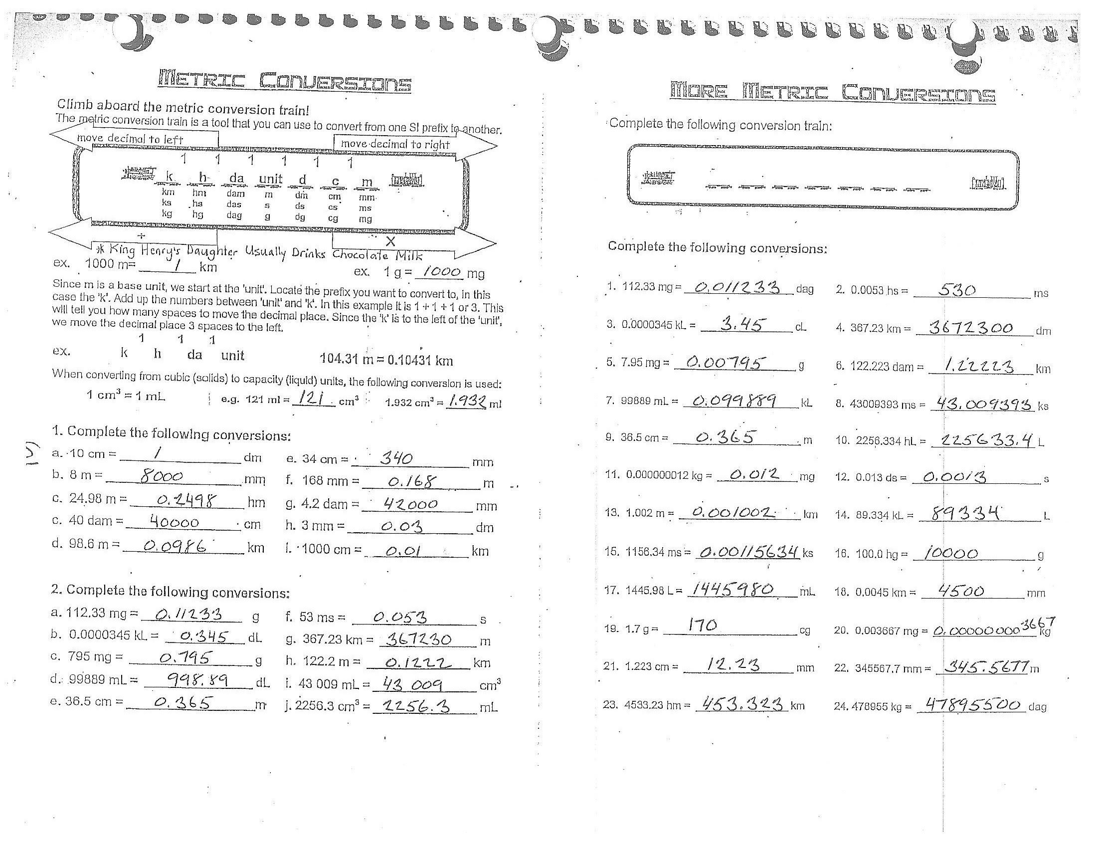 30 Metric System Measurement Conversions Worksheet Answers ...