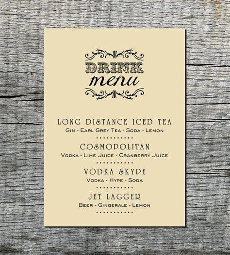 Industrial Drink Menu Card Custom   Wedding, Party