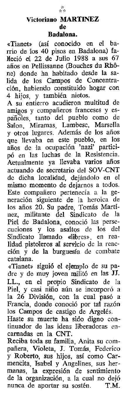 """Necrològica de Victoriano Martínez apareguda en el periòdic tolosà """"Cenit"""" del 4 d'octubre de 1988"""
