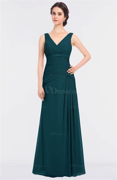 Blue Green Elegant A line Sleeveless Floor Length Ruching