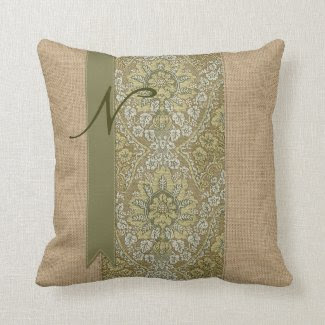 Beautiful Natural Burlap Green Damask Ribbon Dots Throw Pillows