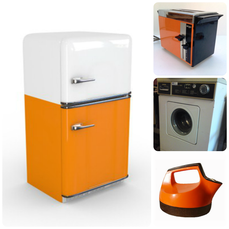 1970s appliances - fridge, washing machine, toaster, kettle