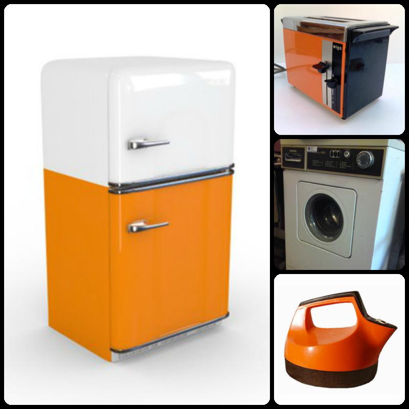 1970s appliances - fridge, washing machine, toaster, kettle