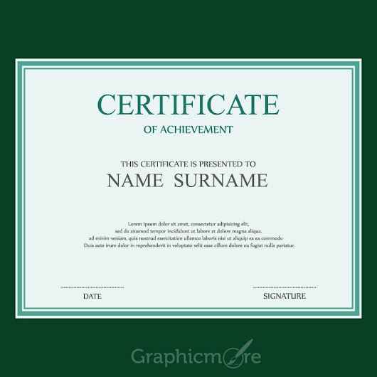 Simple Green Border Certificate Design Template Free Vector File