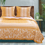 "Barefoot Bungalow Mykonos Reversible 3-Piece Quilt & Pillow Sham Set - King 105x95"" Gold - Twin Gold"