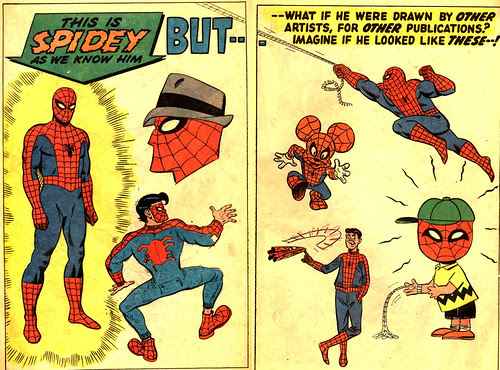 Spider-Man as other cartoon characters, from Amazing Spider-Man Annual #5