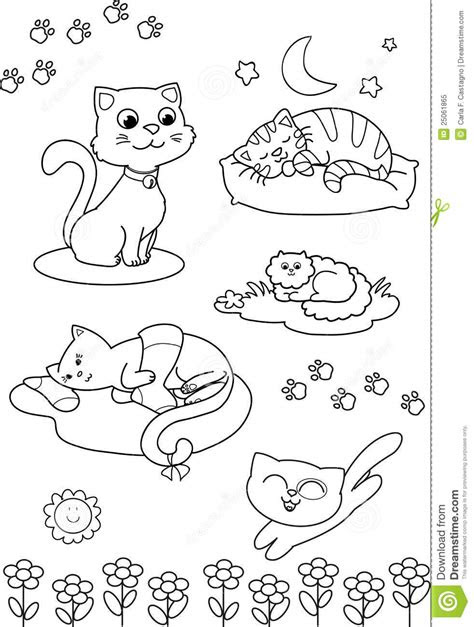 cute cartoon cats coloring vector page stock vector