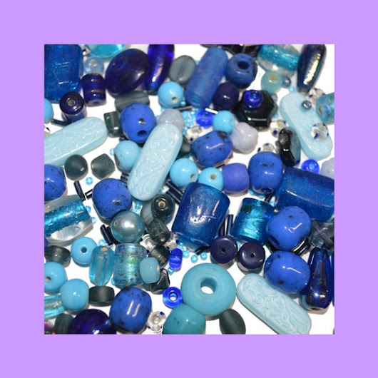 Bead Assortment Shades of Blue Ceramic Glass by FindingzFound