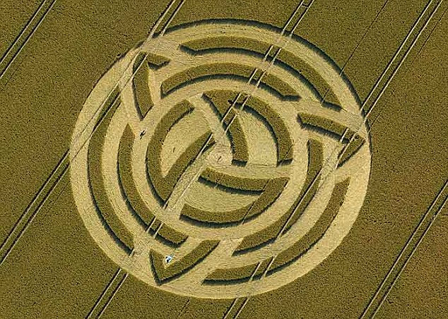 Booming: Crop circles in Wiltshire are attracted tourists to the area to see them, but farmers are unhappy with the lost income they cause