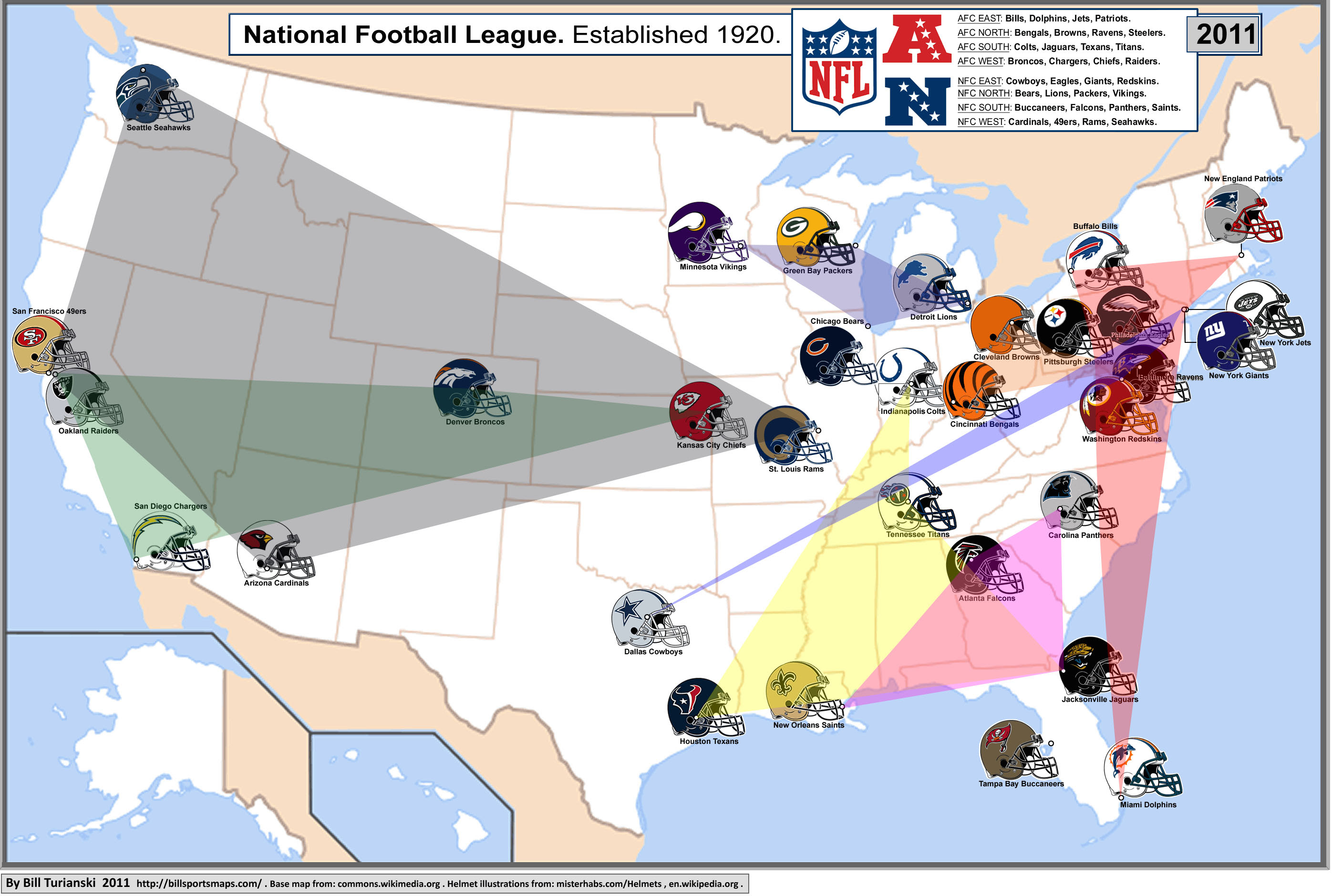 NFL cities map with conferences displayed : nfl
