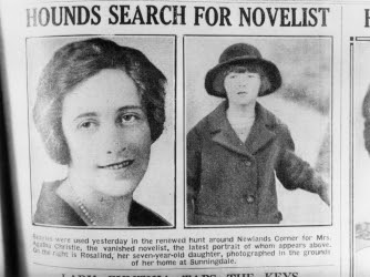 English crime writer Agatha Christie and her daughter, Rosalind, (right), are featured in a newspaper article reporting the mysterious disappearance of the novelist.  (Credit: Hulton Archive/Getty Images)