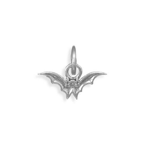 Flying Bat Charm Halloween Sterling Silver - Made in The USA