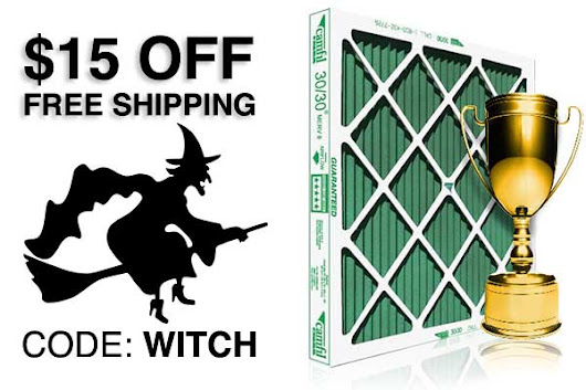 $15 off NOW on furnace filters, code: WITCH