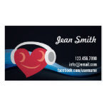 Heart Smiley with Headphone Music DJ Business Card
