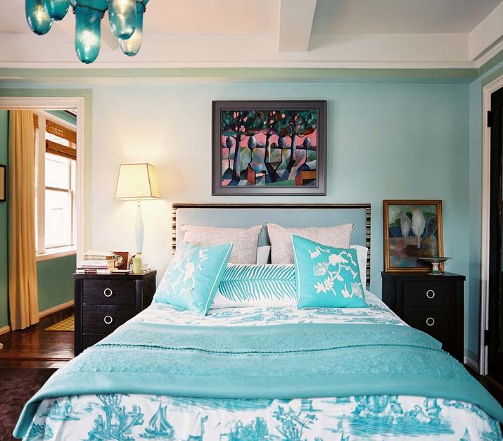 Turquoise Upholstered Headboard - Eclectic - bedroom - Benjamin ...