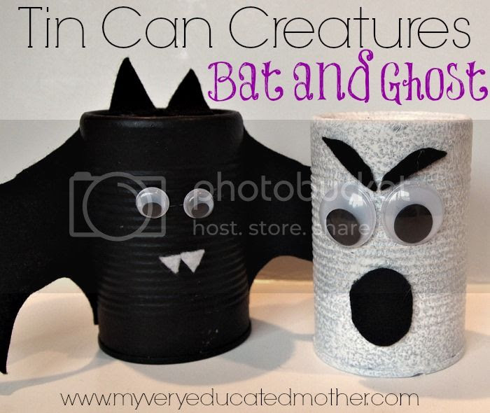 Tin Can Creatures: Bat and Ghost #fall #Halloween #crafts #kidscrafts