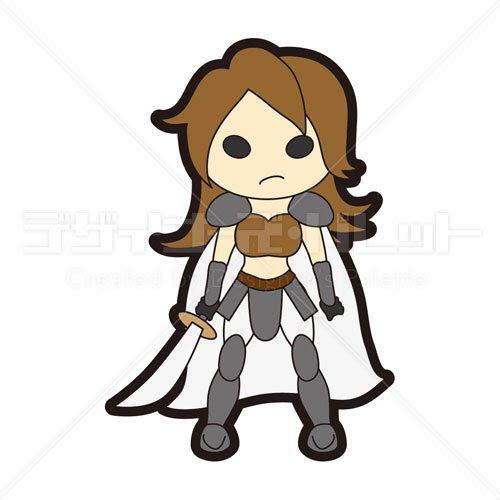 キャラクター女戦士 イラパレロイヤリティフリーのストックイラスト