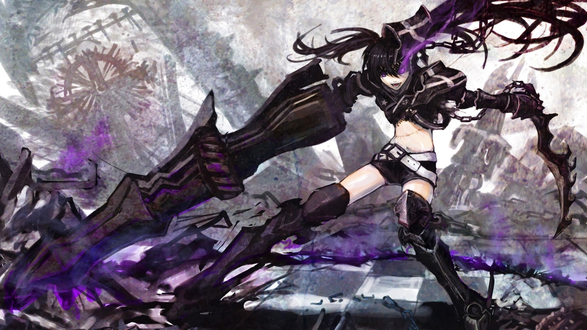 Boots Black Rock Shooter Anime Girls Glowing Eyes 1920x1080