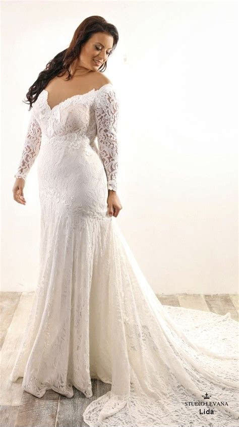 Lida plus size mermaid wedding gown with long lace sleeves