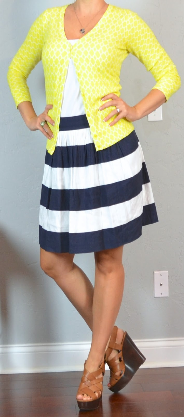 outfit post navy striped skirt yellow cardigan brown wedges