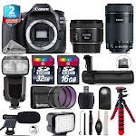 Canon EOS 80D DSLR + 50mm STM + 55-250mm IS STM + LED Kit + Pro Flash + 48GB