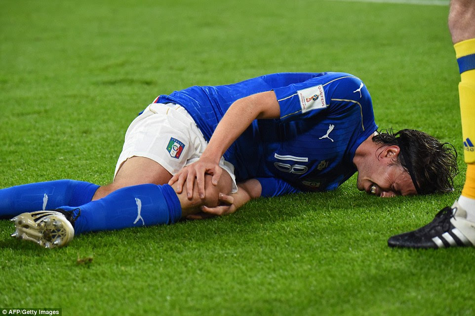 Italy were also forced to make an earlier than expected change whenRiccardo Montolivo went down injured