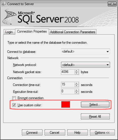 SQL Server Connection Colours