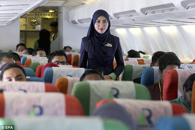 Muslim flight crew who work for Rayani Airmust wear the hijab as part of their uniform