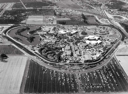 Aerial photograph of Disneyland on opening day, Anaheim, California, July 17, 1955