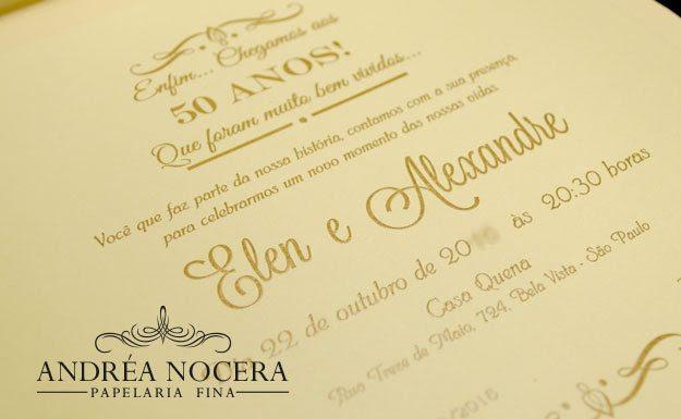 Convite De 50 Anos Dourado Atelier Andrea Nocera