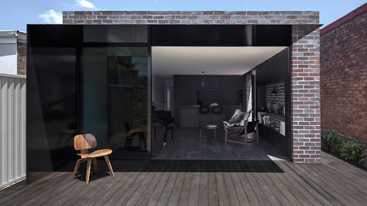 Studioplusthree adds contrasting black extension to white Federation house in Sydney