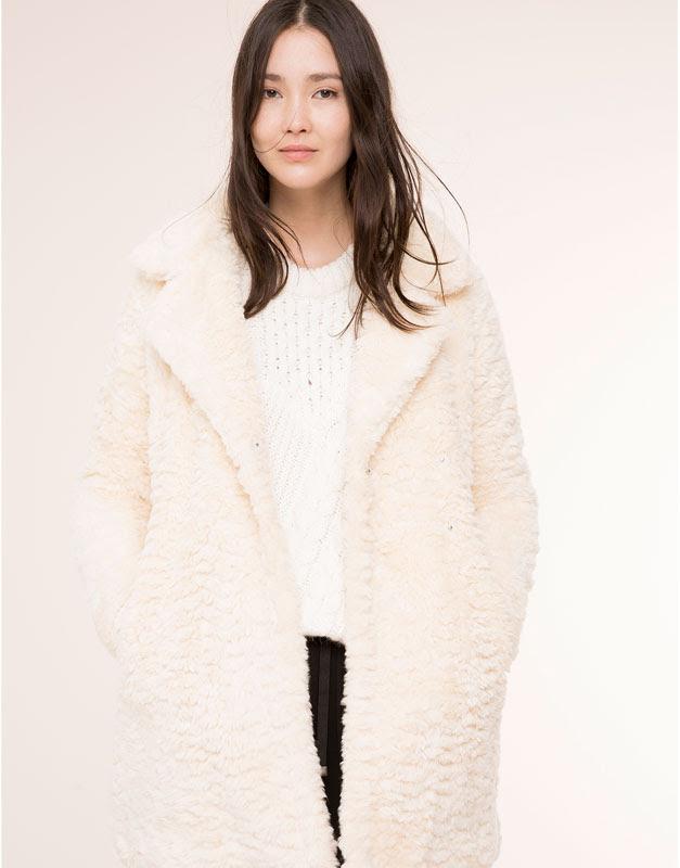 Pull&Bear - mujer - abrigos y parkas - abrigo pelo solapa - hielo - 09752319-I2015