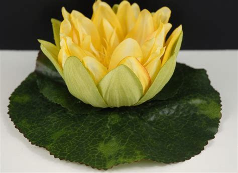 """Yellow Silk Floating Water Lily 6.75"""""""