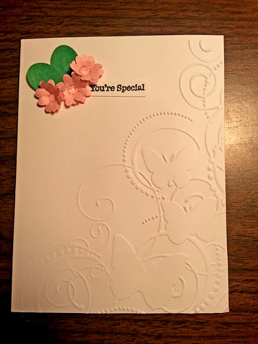 I'm having way to much fun with my new hobby of making my own cards!  Learning a lot...this one I made with one one particular in mind...actually I started out not planning on making a card,  just learning to make flowers...and loved them so much I had to put them on a card.  ;-))