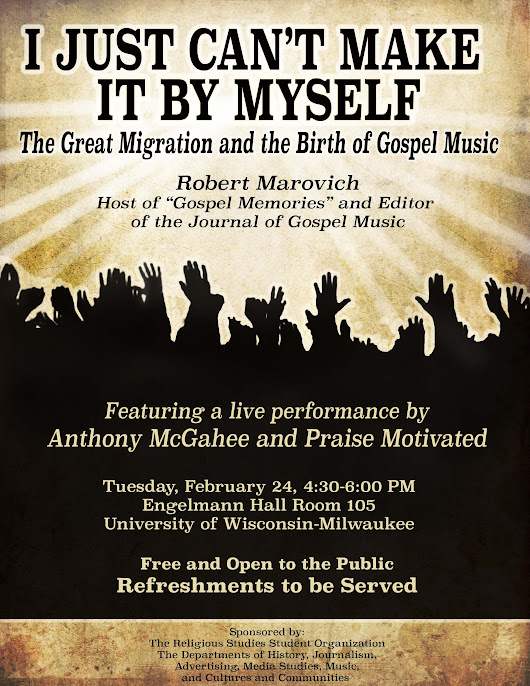 JGM's Bob Marovich to Speak at UWM February 24 - The Journal of Gospel Music