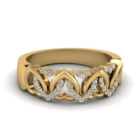 Interweaved Heart Design Diamond Wedding Band In 14K