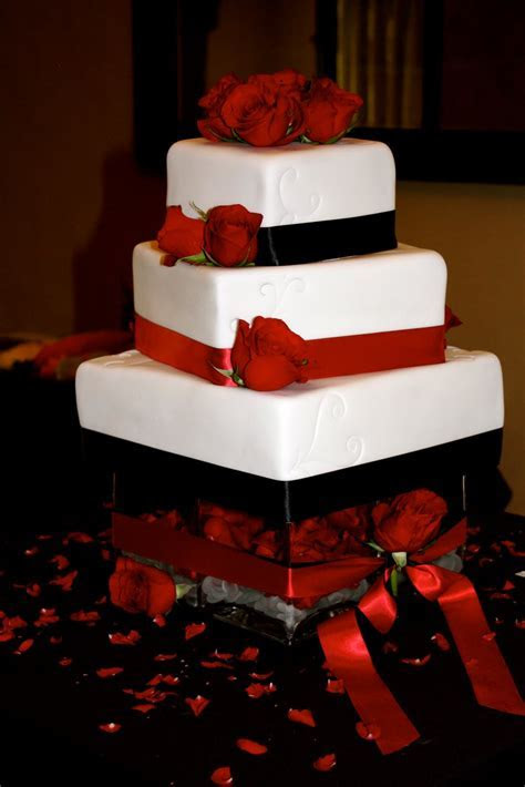 bumble cakes: jessica/brent: black, red and white wedding