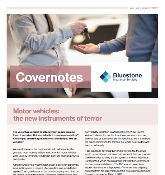 Winter 2017 Covernotes Newsletter - Bluestone Insurance Cirencester