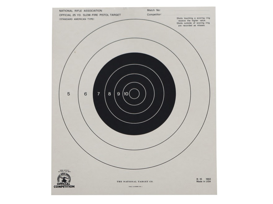 NRA Official Pistol Targets B-16 25 Yard Slow Fire Paper Package of