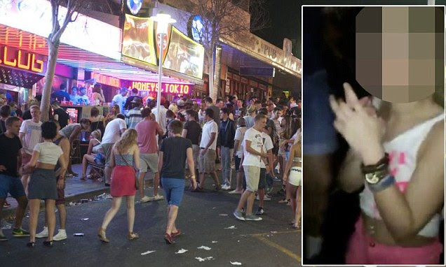 Video footage has emerged of a girl performing sex acts on more than 20 men in a bar in Magaluf for a free drink