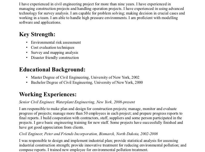Civil Engineering Resume Objective Statement - BEST RESUME ...