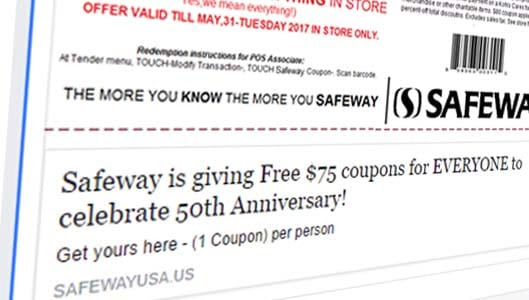 No, Safeway isn't giving $75 coupons away for anniversary - ThatsNonsense.com