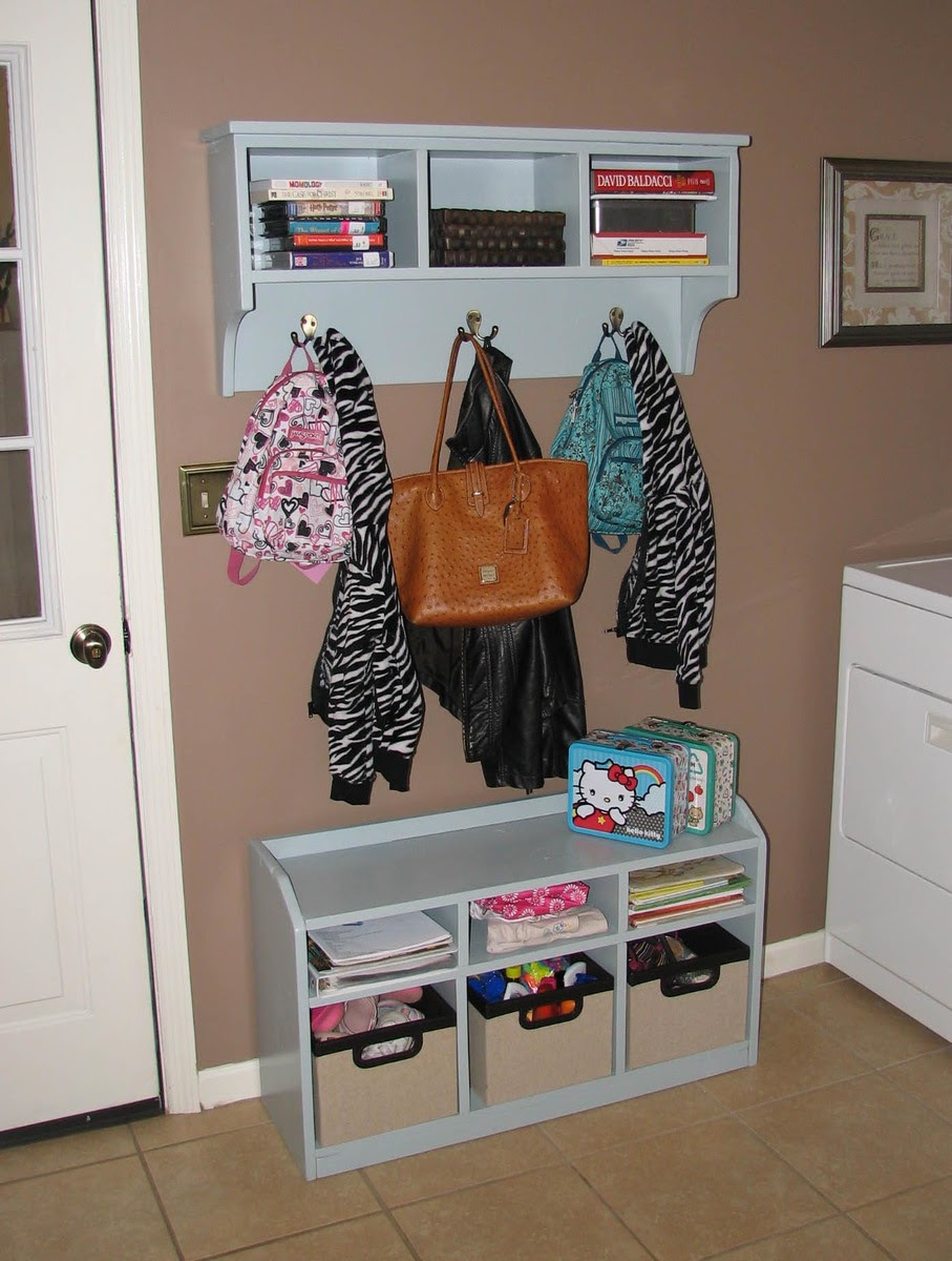 Cubby Bench and Storage Shelf w/ Hooks | Do It Yourself Home ...