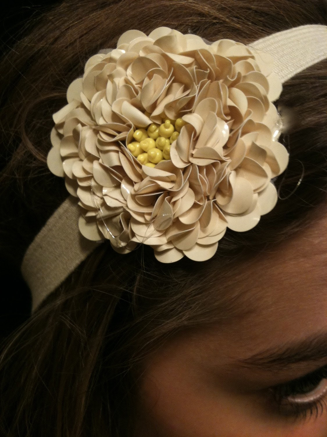 Sequin Flower Headband - Creme