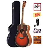 Yamaha FS720S Small Body Folk Acoustic Guitar Bundle with Hardshell Case, Tuner, Instructional DVD, Strings, Pick...