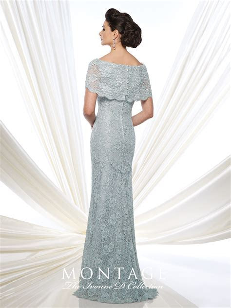 Lace Fit and Flare Gown With Short Sleeves   Ivonne D 215D03