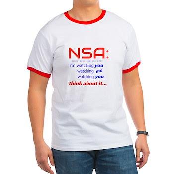 NSA Watching Men's Ringer T